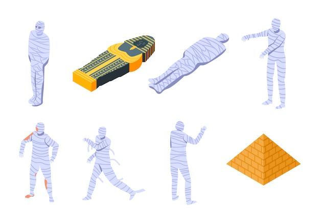 Набор иконок мумия, изометрический стиль Premium векторы