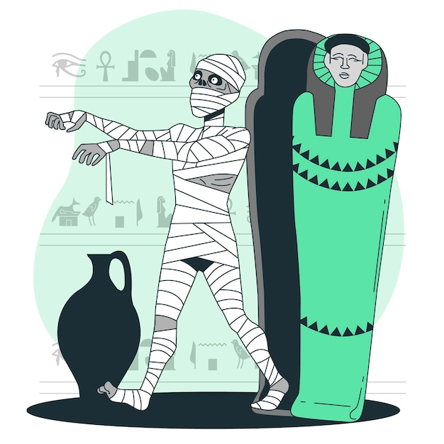 Mummy rising from coffin concept illustration Free Vector