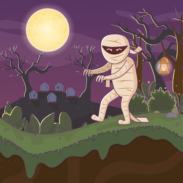 Mummy walking in the cemetery halloween Premium Vector