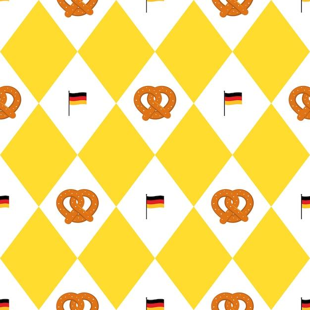 Munich beer festival flags and pretzels seamless pattern Premium Vector