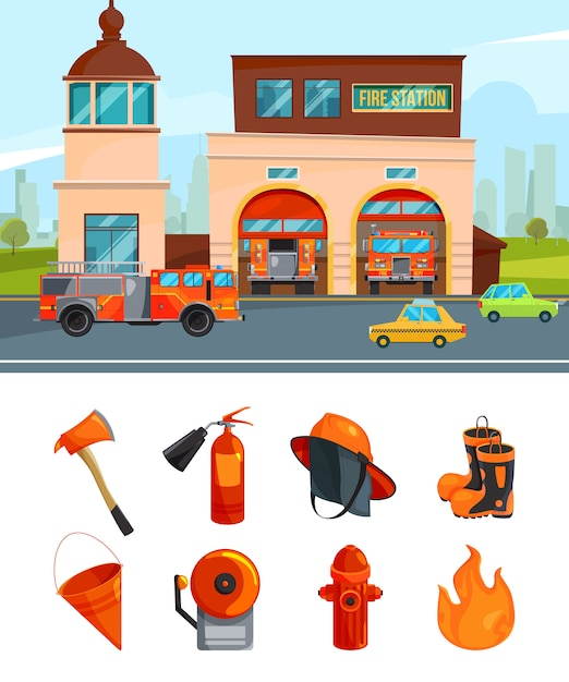 Municipal building of fire station services. vector pictures isolate on white Premium Vector