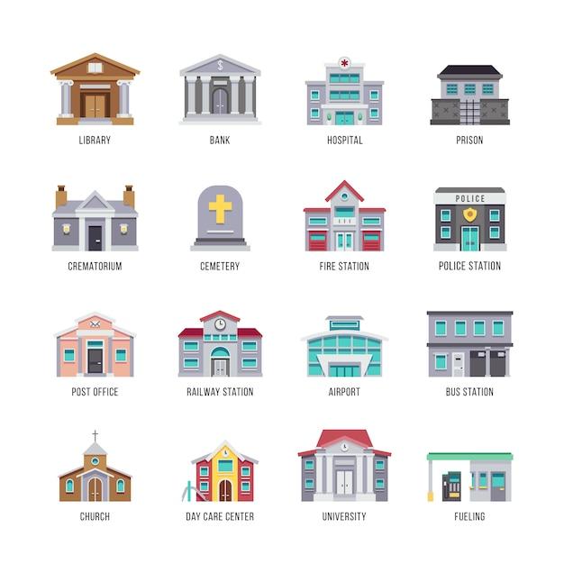 Municipal city buildings library, bank, hospital, prison icon set. Premium Vector