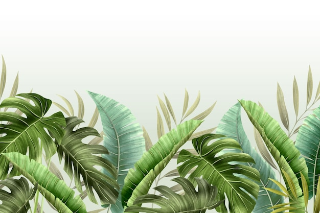 Mural wallpaper with tropical foliage Free Vector
