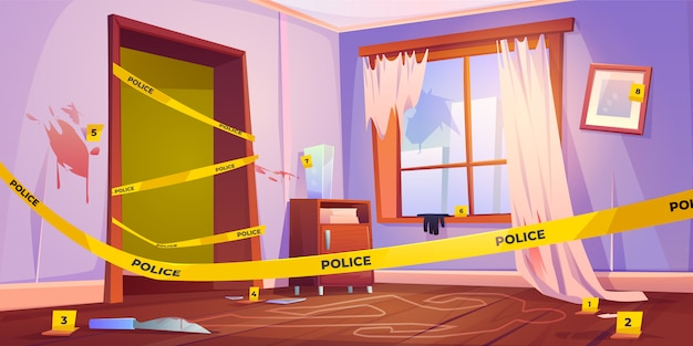 Murder place fenced with yellow police tape illustration Free Vector