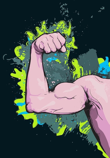 Muscle arm cartoon vector Free Vector