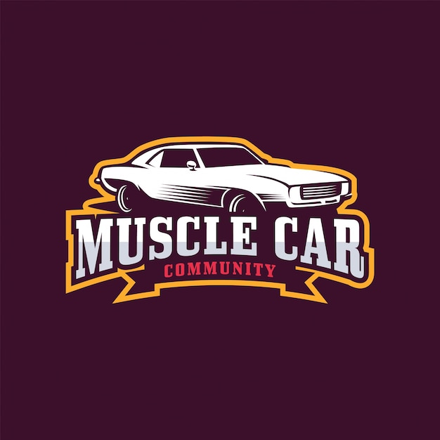 muscle car logo vector premium download rh freepik com Old School Hot Rod Logos Old School Hot Rod Logos
