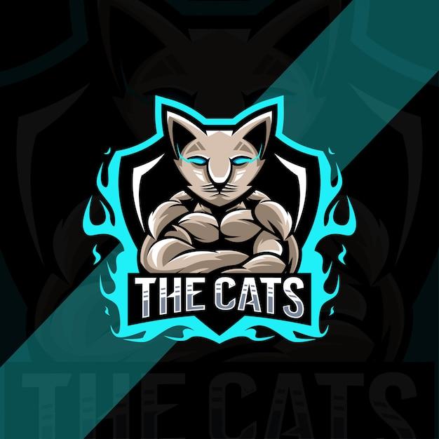 Дизайн логотипа талисмана мускулистого кота Premium векторы