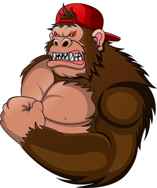 Muscle gorilla cartoon Premium Vector