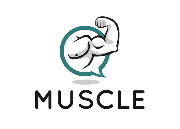 Muscle logo design for fitness forum or blog Premium Vector