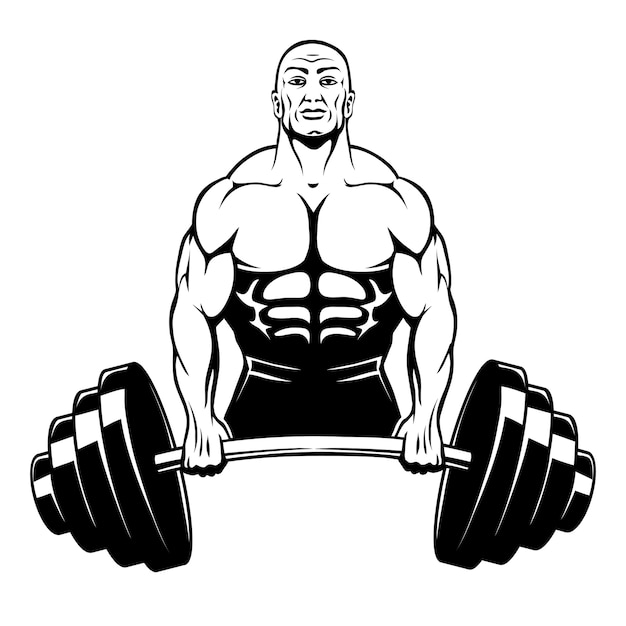 Muscle man bodybuilder holding a large barbell with big weights Free Vector