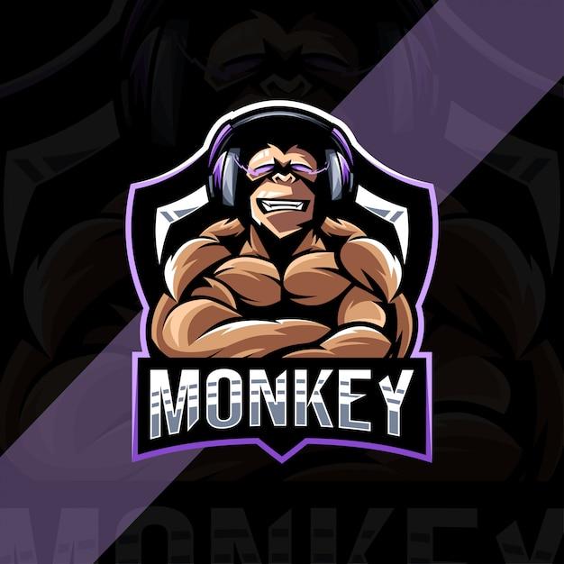 Muscle monkey gamers талисман логотип киберспорт шаблон Premium векторы