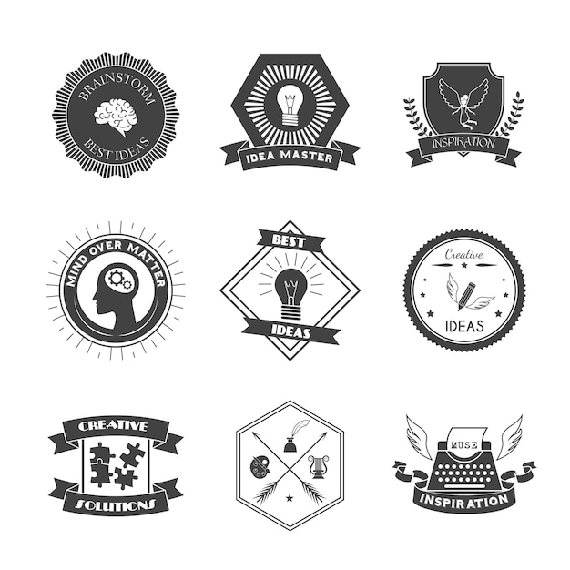 Muse brainstorm creative solution and inspiration label set Free Vector