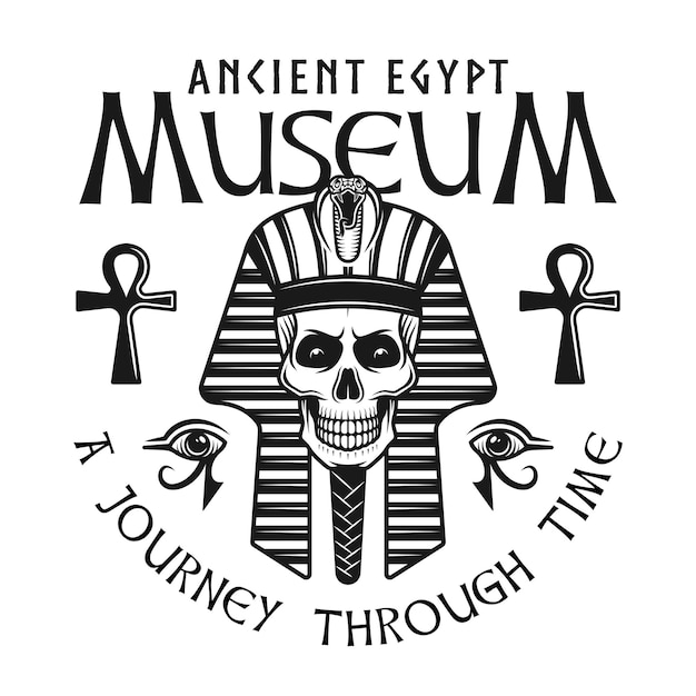 Museum of ancient egypt label or emblem with pharaoh skull head Premium Vector