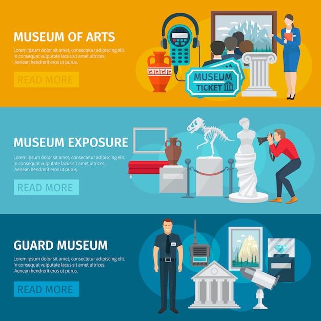 Museum of arts horizontal banner Free Vector