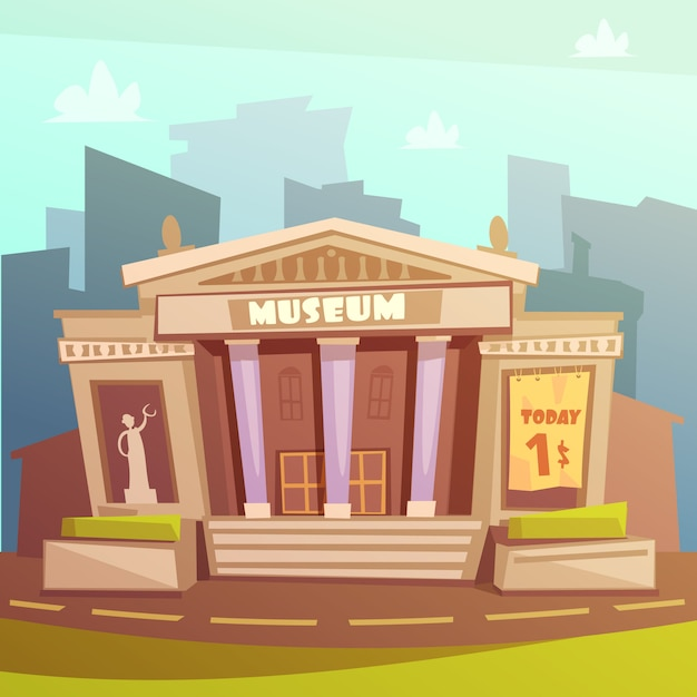 Museum building cartoon illustration Free Vector