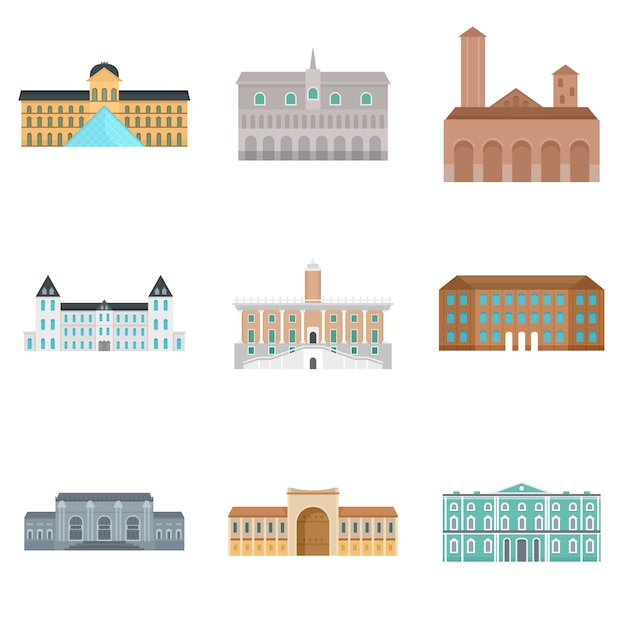 Museum day italy palace icons set Premium Vector