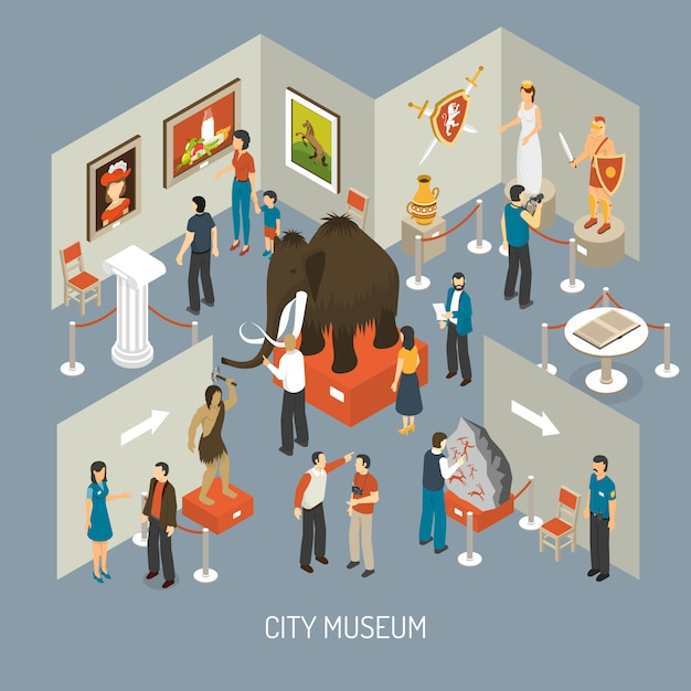 Museum exhibition isometric composition poster Free Vector