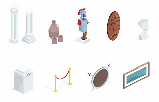 Museum exhibition isometric exhibits Free Vector