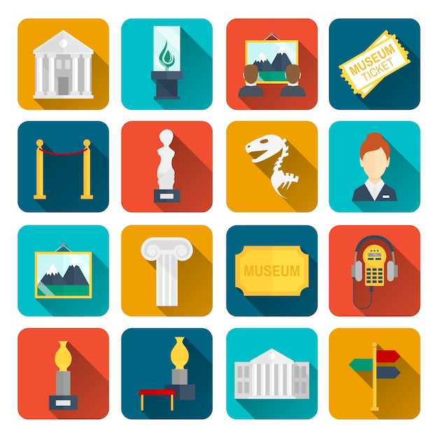 Museum icons flat set of sign canvas barrier isolated vector illustration Free Vector