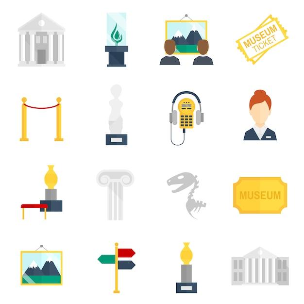 Museum icons flat Premium Vector