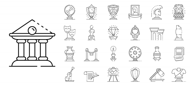 Museum icons set, outline style Premium Vector