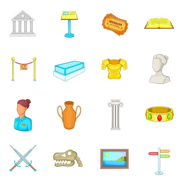 Museum icons set Premium Vector