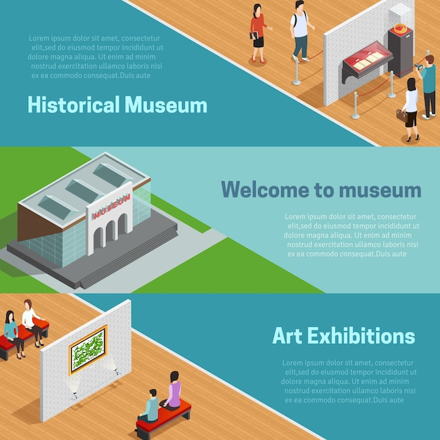 Museum isometric banners set Free Vector