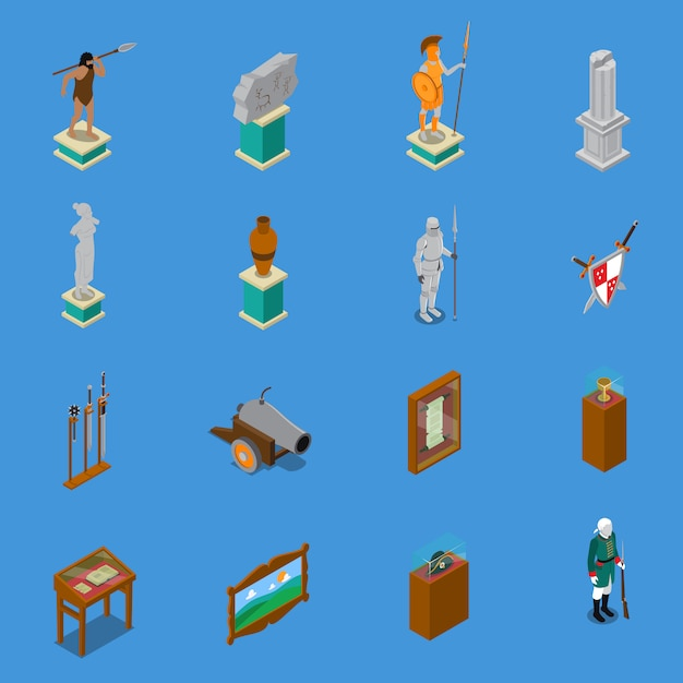 Museum isometric icons set Premium Vector