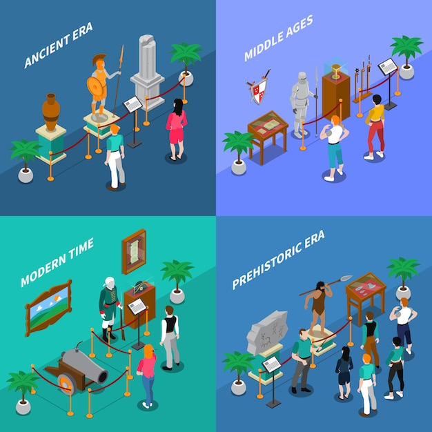 Museum isometric illustration set Free Vector
