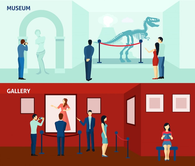 Museum visitors 2 flat banners poster Free Vector