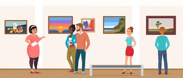박물관 방문자 가이드와 함께 투어를 복용 사진 사진 그림을보고 미술 전시회 갤러리 박물관 사람들. 프리미엄 벡터