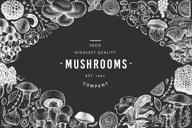 Mushroom black and white template. Premium Vector