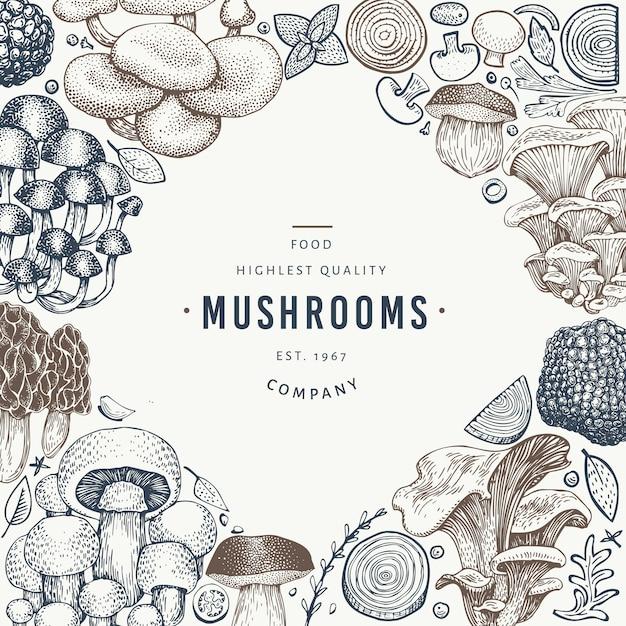 Mushroom design template. Premium Vector