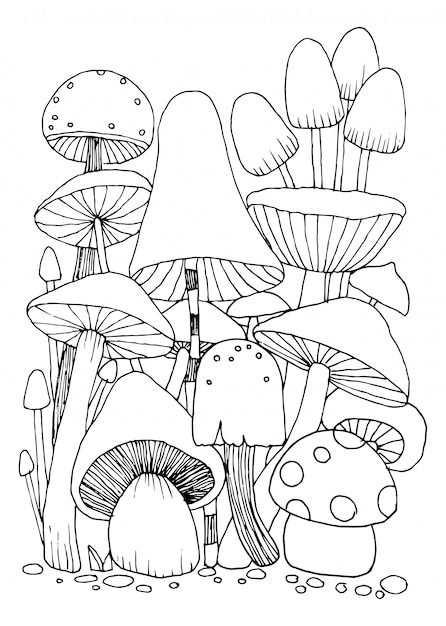 Mushroom doodles  for coloring book isolated illustration on white background Premium Vector
