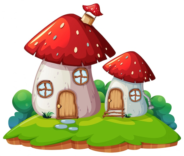 Mushroom home isolated scene Free Vector