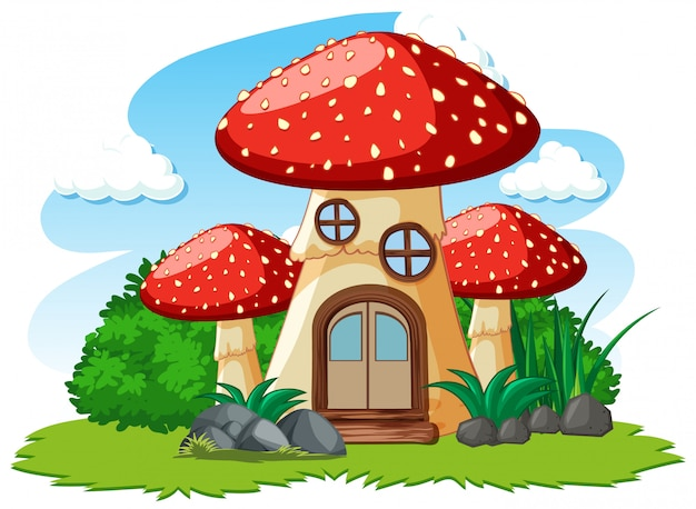 キノコの家と白い背景の上のいくつかの草の漫画のスタイル 無料ベクター