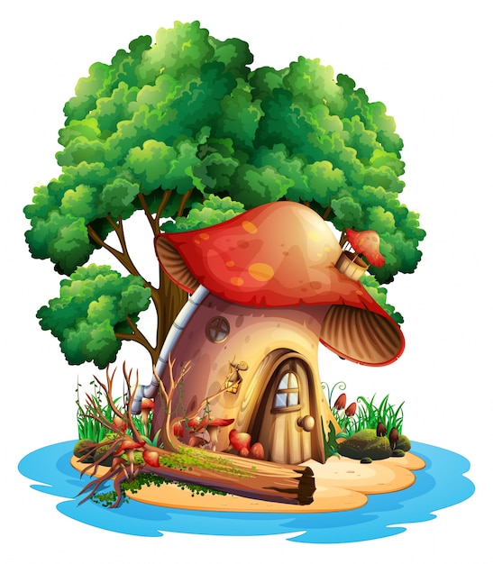 Mushroom house on island Free Vector
