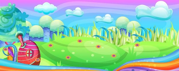 Mushroom houses in the garden illustration Premium Vector