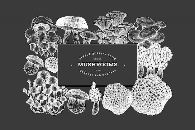 Mushroom poster Premium Vector