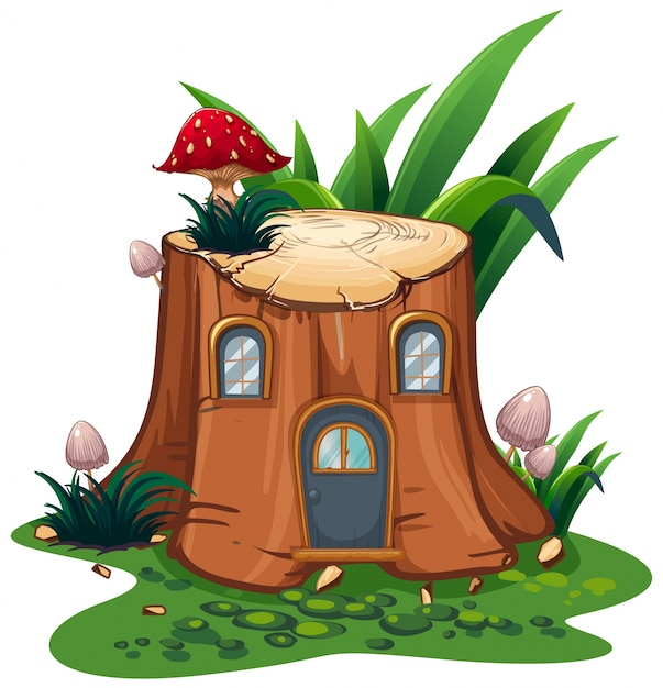 Mushroom on stump tree in garden Free Vector