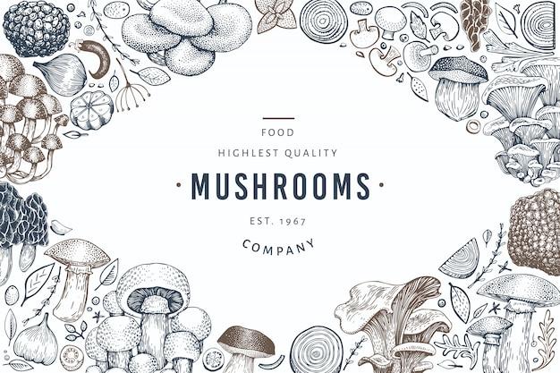 Mushroom template. hand drawn food illustration. Premium Vector