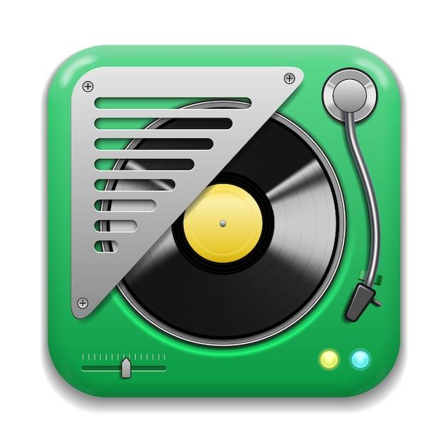 音楽アプリのアイコン、ビニールプレート付きのリアルなターンテーブル 無料ベクター