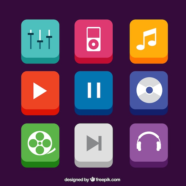 Music app icons in 3d style Premium Vector