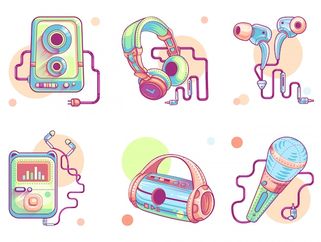 Music or audio line art icons Free Vector