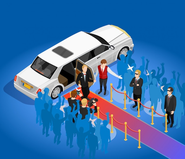 Music award celebrity limousin isometric illustration Free Vector