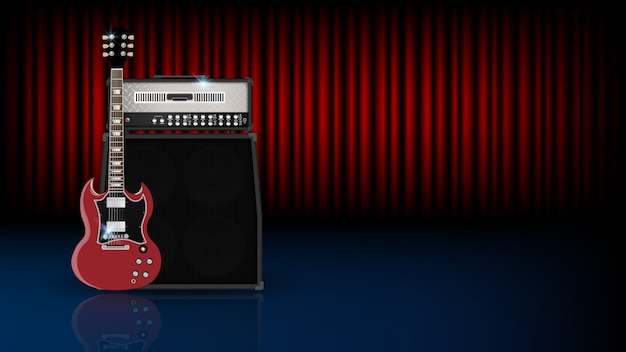 Music background concept, guitar and amplifier on red curtain Premium Vector