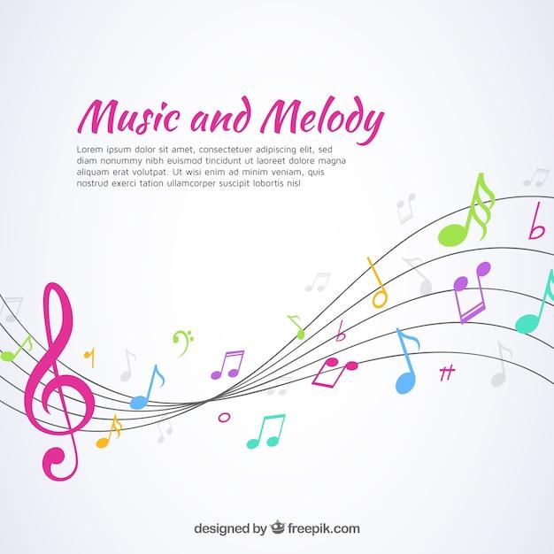 Музыкальный фон с пентаграммой и красочными нотами Бесплатные векторы
