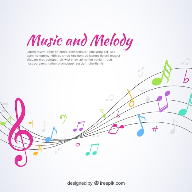 Music background with pentagram and colorful notes Free Vector