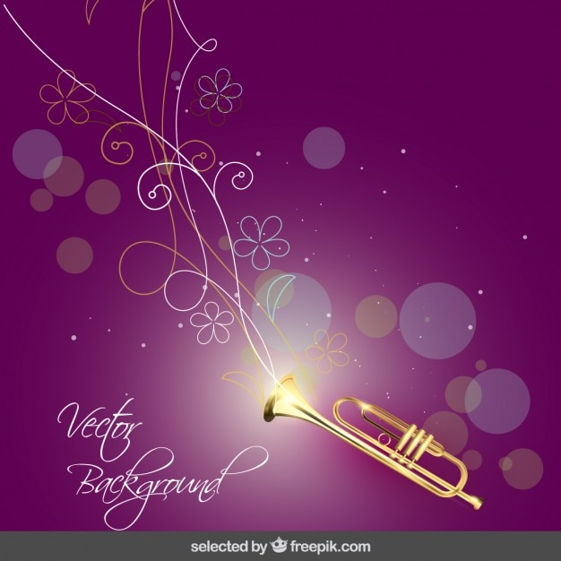 Music Background With Trumpet And Flowers Vector