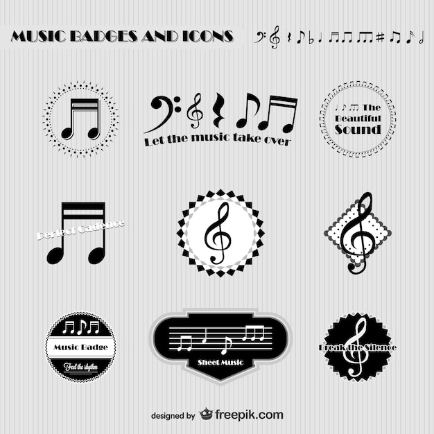 Music badges and icons Free Vector